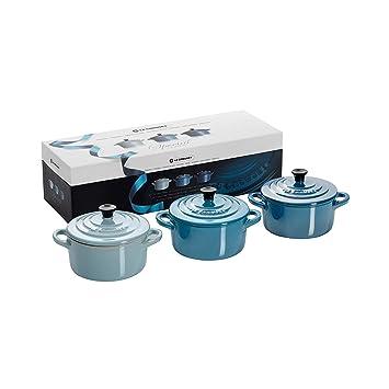 Le Creuset - Set de 3 Mini Cocottes de gres, color Special azul brillante: Amazon.es: Hogar