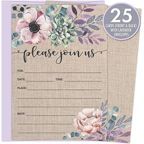 Rustic Burlap Invitations with Florals. 25 Lavender Envelopes and Fill in the Blank Invites for Bridal Showers, Baby Showers, Birthdays, Graduations, Christening, Baptism, Dinner Parties, Rehearsal Di Blank Rehearsal Dinner Invitations