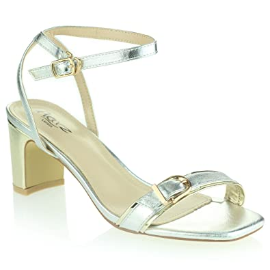 73110f388c2 Women Ladies Evening Wedding Party Prom Square Open Toe Mid Block Heel  Silver Sandals Shoes Size