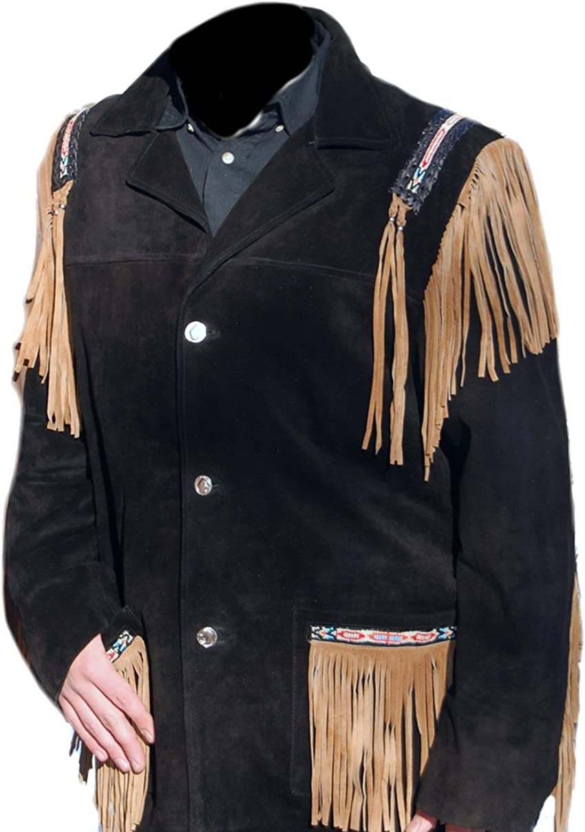 coolhides Mens Cowboy Western Suede Leather Fringed and Beaded Coat
