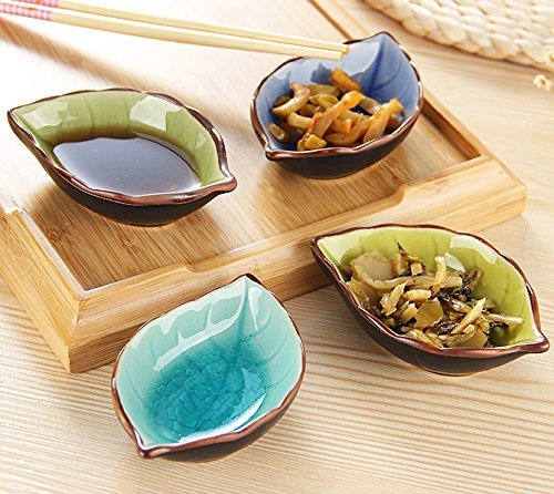 Leaf Shaped Bowl - Crackle Glaze Sauce Dishes,STAR-TOP Hand-crafted Beautiful Condiment Dishes Snack Serving Dishes Set of 4