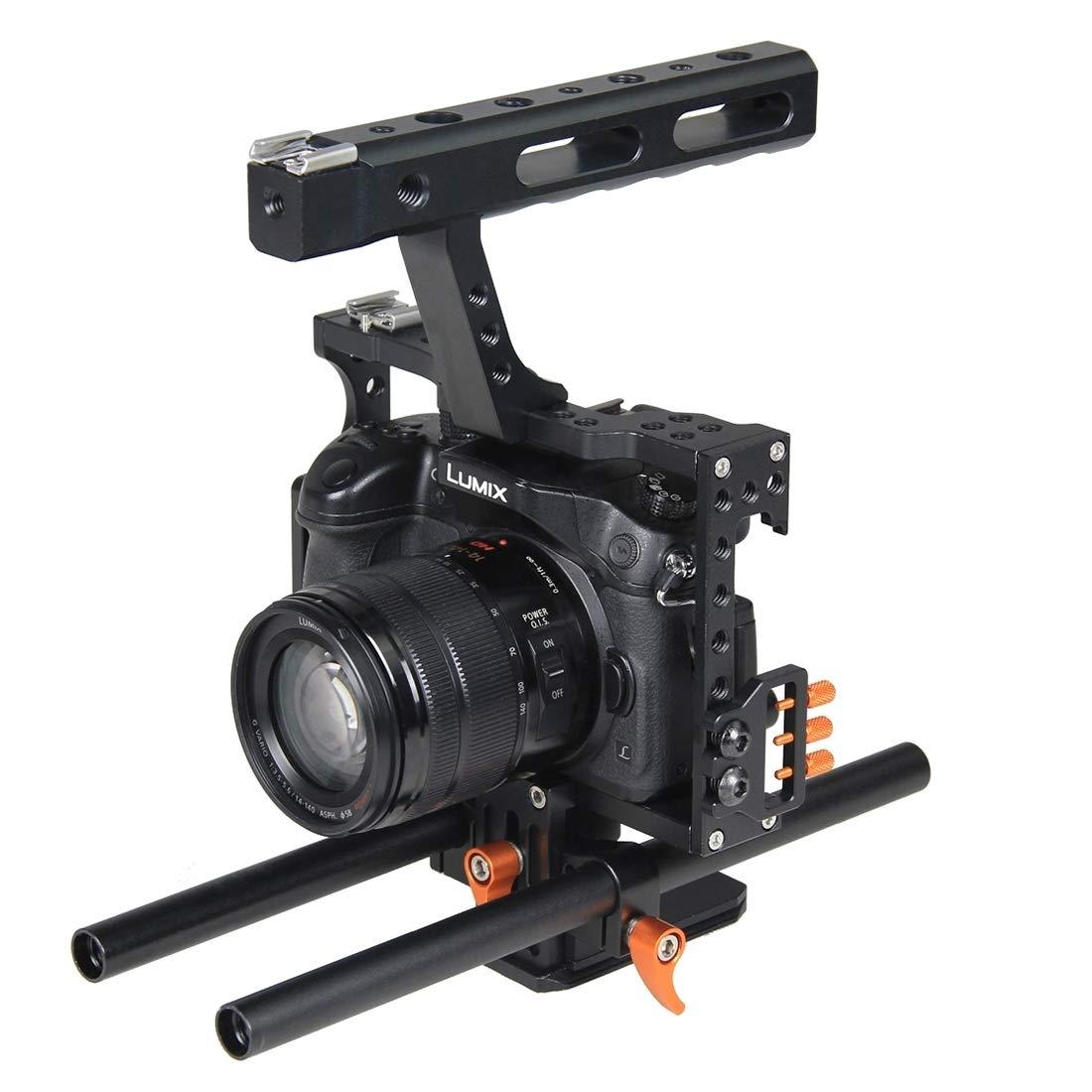 カメラ用 YLG1105Aハンドルビデオカメラケージスタビライザー対応パナソニックルミックスDMC-GH4 /ソニーA7&A7S&A7R&A7RII&A7SII カメラアクセサリー (Color : オレンジ)   B07Q1H7TYV
