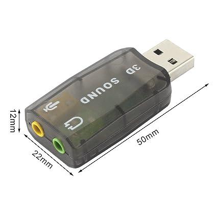 actecom® Tarjeta de Sonido Externa USB 3D Sound 5.1 Audio para PC Virtual DJ