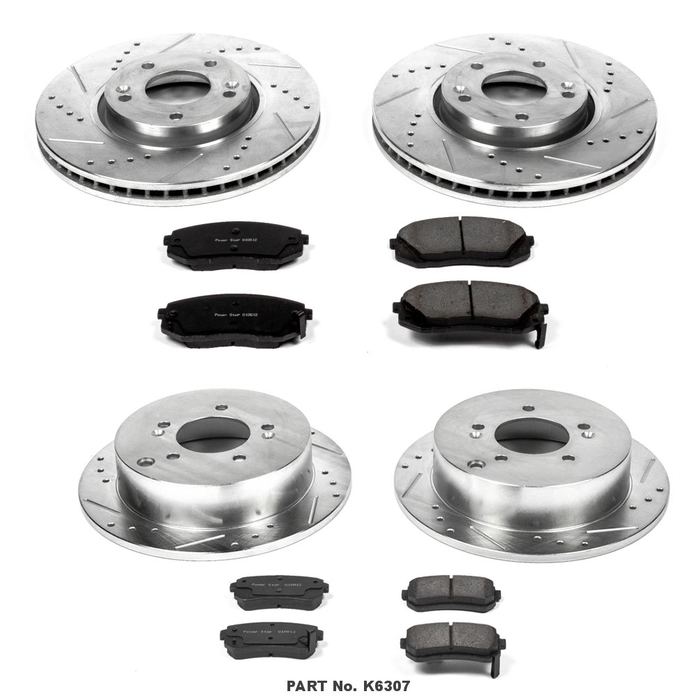 Power Stop K6307 Front and Rear Z23 Evolution Brake Kit with Drilled//Slotted Rotors and Ceramic Brake Pads