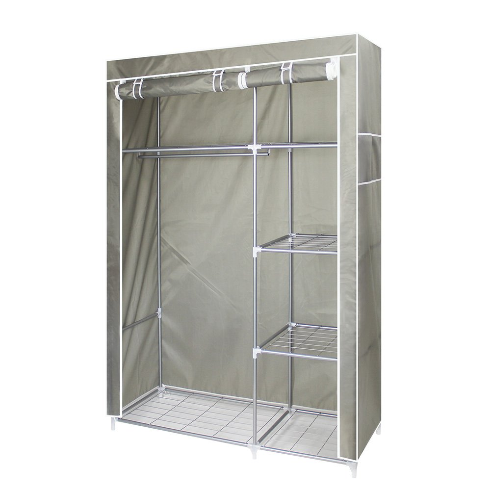 ROKOO Clothes Closet Wardrobe Portable Home DIY Stainless Steel Tube Oxford Cloth Storage Organizer with Hanging Rod Door Cover Large Space 6 Storage Shelves