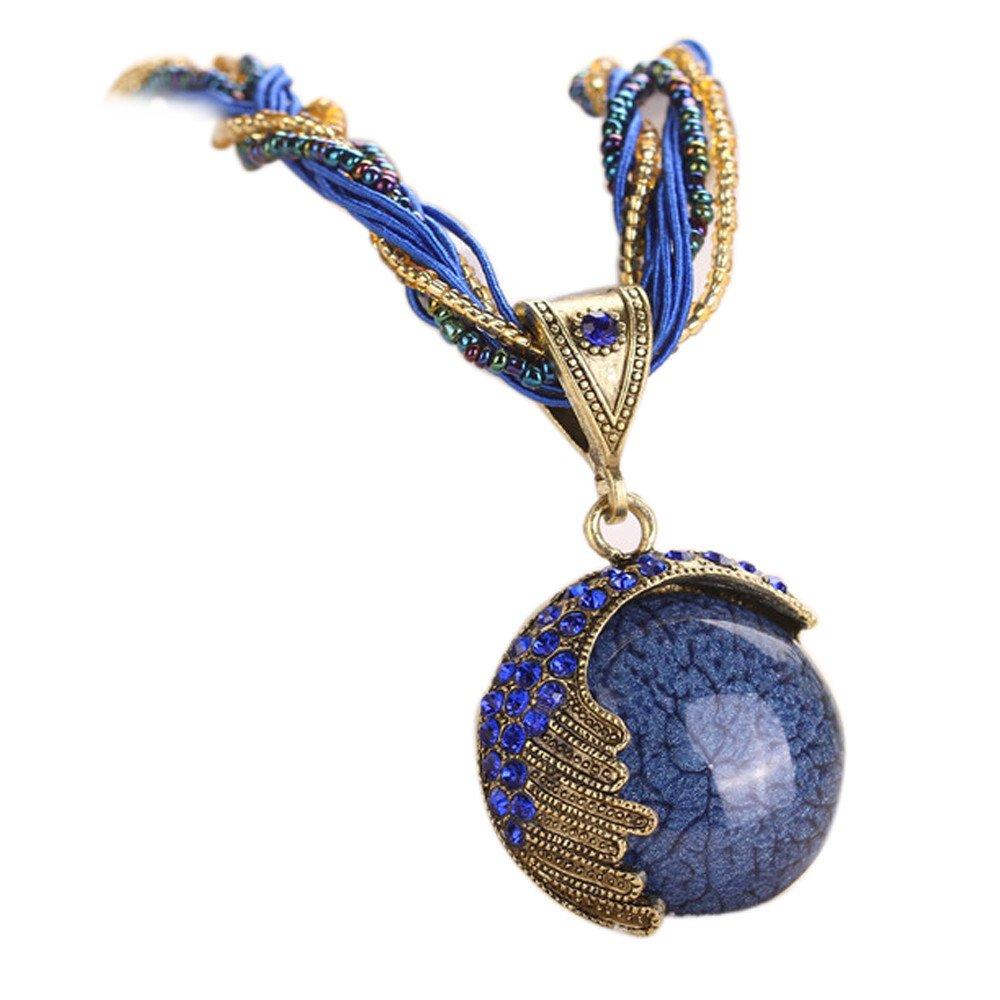 Retro Bohemian Turquoise Stone Pendant Collar Statement Chunky Necklaces for Women Beach (Blue)