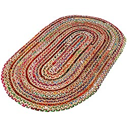 Hand Made - Braided Multicolor Chindi Rugs - Natural Jute & Cotton Rugs - 3' x 5' Oval Area Rugs - Boho Bohemian Area Rugs- Reversible Oval Area Rugs- Braided Chindi Cotton Jute Area Rugs