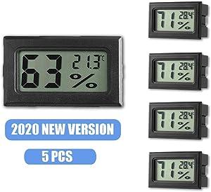 Leonnnnn Mini Digital Hygrometer Thermometer, Indoor LCD Display Temperature Monitor Sensor Fahrenheit (℉) for Home Office Humidors Cellar Fridge Closet (5 Pack) (Black - 5)