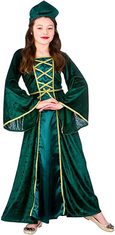 Girls Medieval Maid Costume Tudor Blue Fancy Dress Outfit NEW AGE 6-8