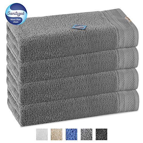 Luxury 4 Piece Bath Towel Set 56x28 Inch -100% Long Staple Cotton Super Soft, Machine washable,Ultra Absorbent and Eco-Friendly Bath Towels for Bathroom, Hotel and Spa Quality, (Light Gray)