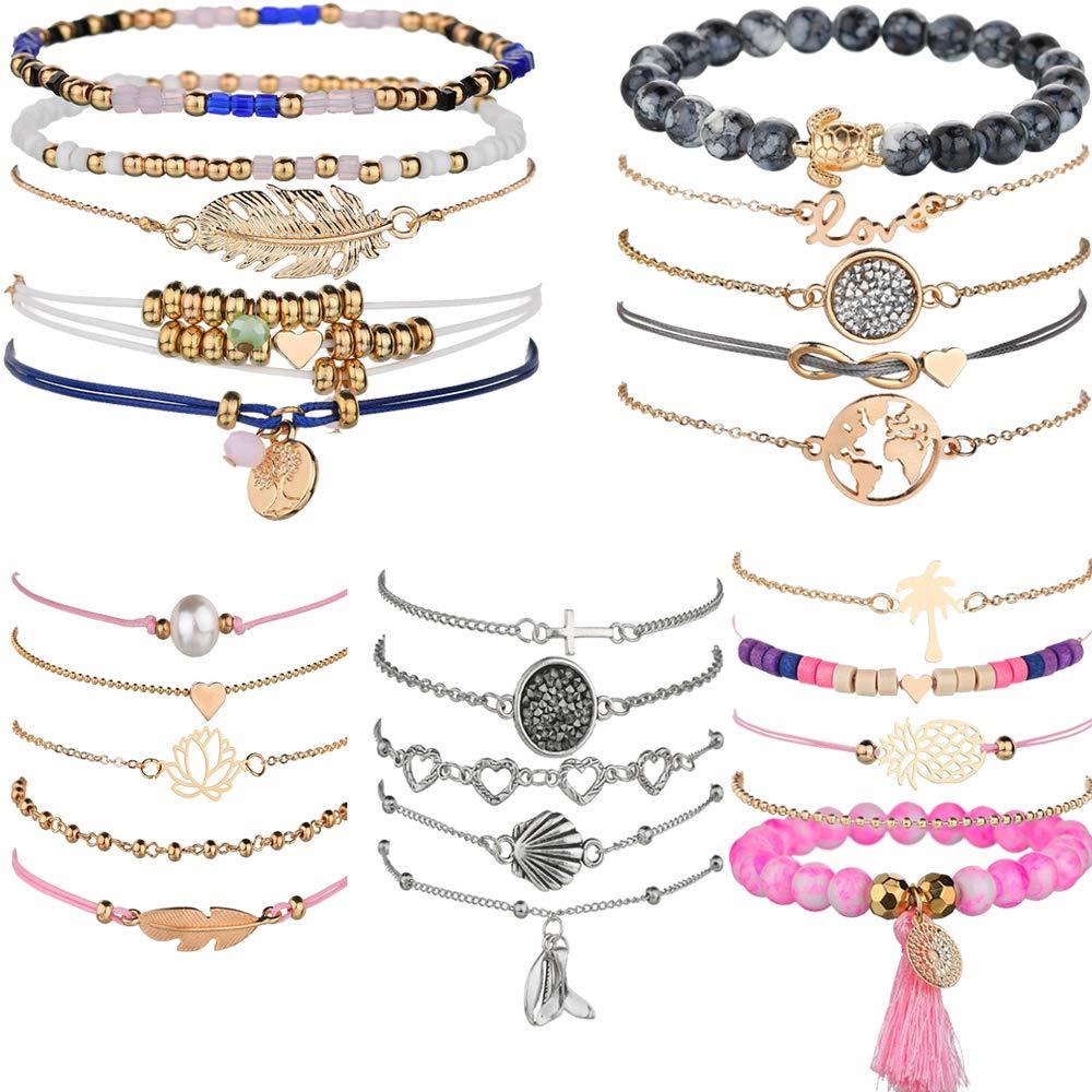 yunanwa 5 Pack (25pcs) Multilayer Bohemian Beaded Bangle Bracelet Crystal Charm Stretch Beach Set Boho Holiday Jewelry by yunanwa