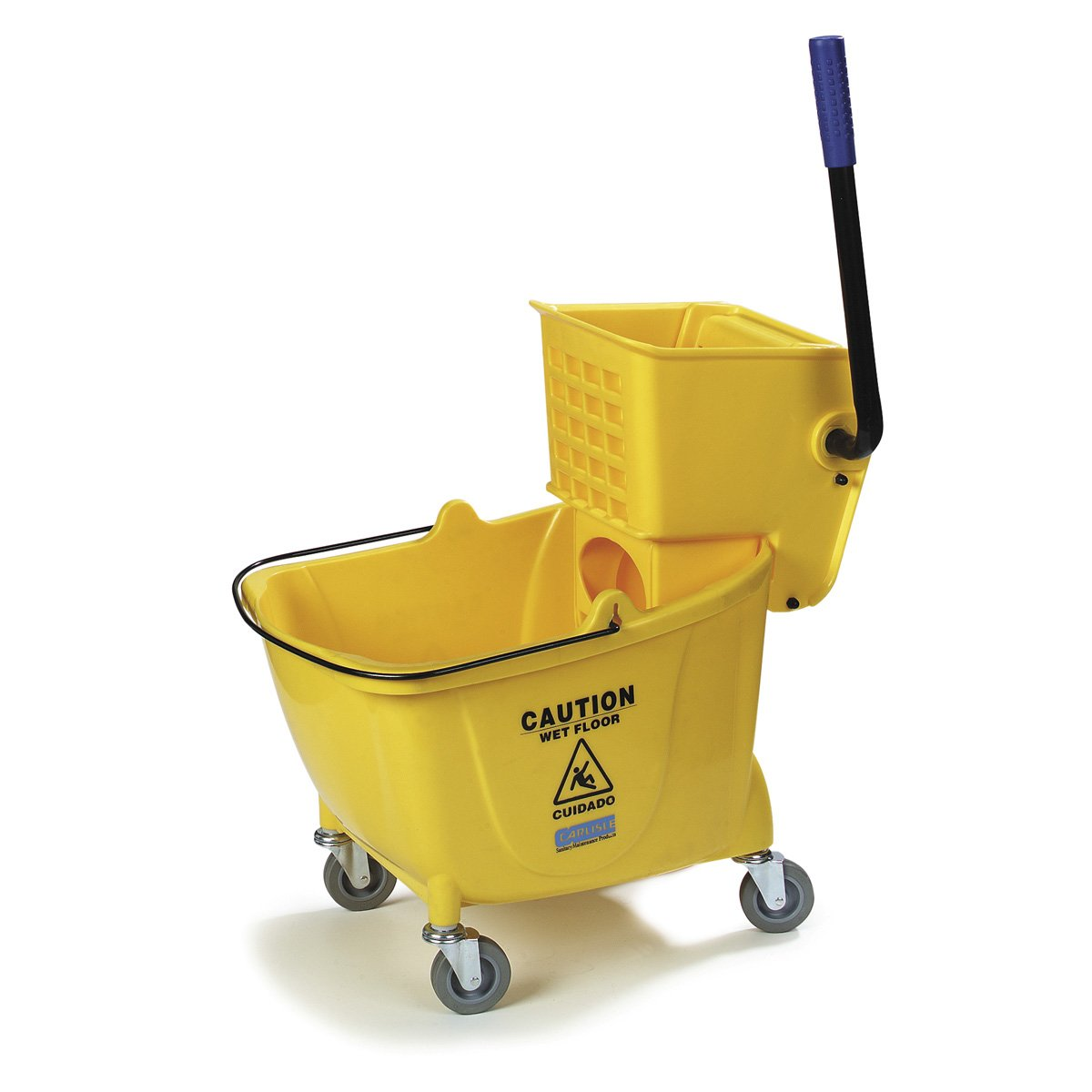 UltraSource Dual Mop Bucket with Wringer, 35 quart, Yellow