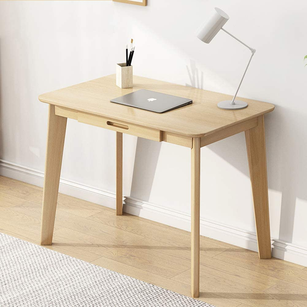 IOTXY Solid Wood Writing Desk - Home Office Workbench Desk with Drawer, Laptop Computer Work Study Table