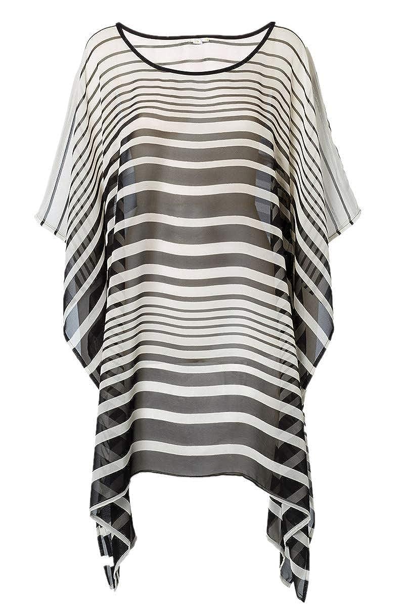 L-Peach Damen Gestreifte Bluse Tunika Strandkleid Bikini Coverups One Size