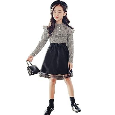 4ffe0a8fdde8a COCO1YA(ココイチヤ) セットアップ 子供 女の子 春秋 長袖 ブラウス+スカート レーススカート チェック柄