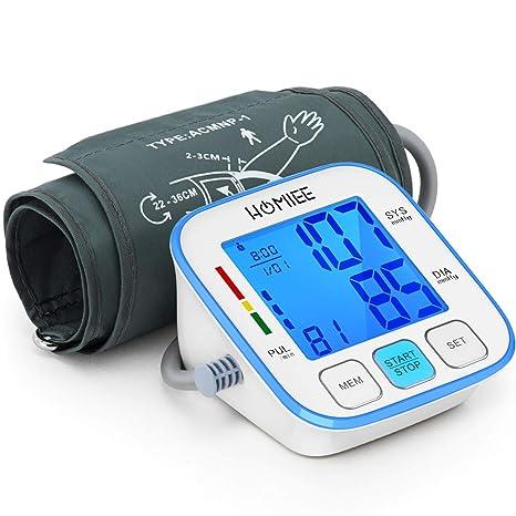 HOMIEE Monitor de Presión Arterial, Brazo Superior Presión Arterial Digital con Retroiluminación de la Máquina Pantalla LCD de 3,5 Pulgadas, Brazalete ...
