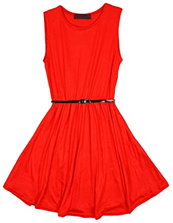 25f45dab7625 FCL Collection Girls Red Dress & Black Belt Sleeveless Skater Dance Fashion  Party Sizes from 8 to 13 Years: Amazon.co.uk: Clothing