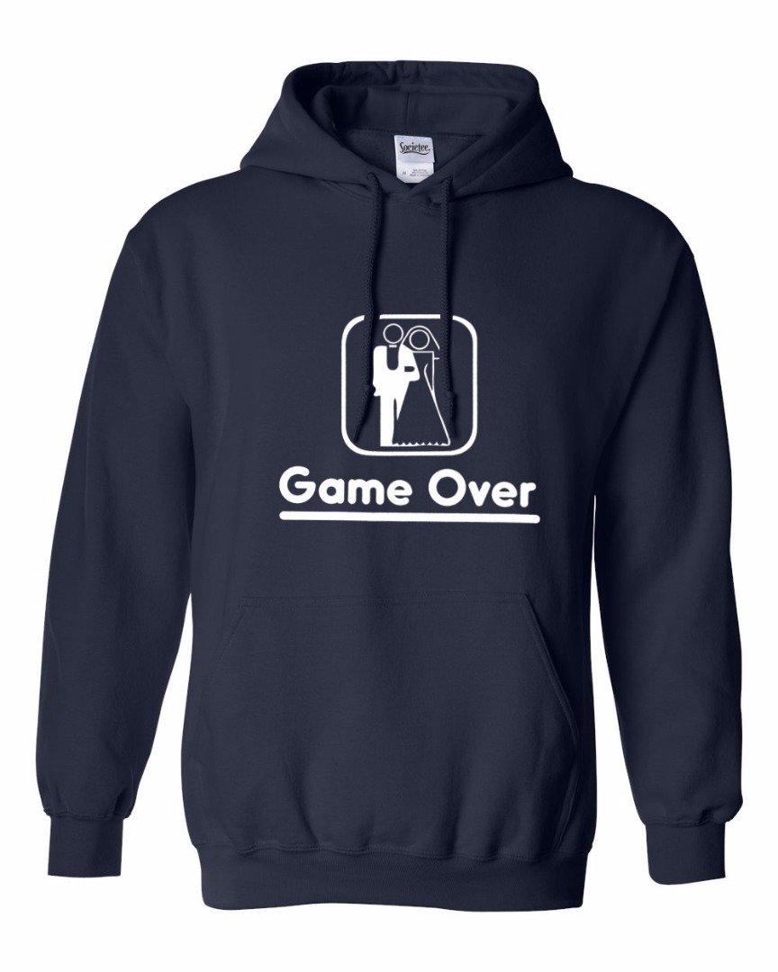 Game Over Wedding Marriage Funny Bachelor Party Groom And Bride - Men's Hoodie Sweatshirt