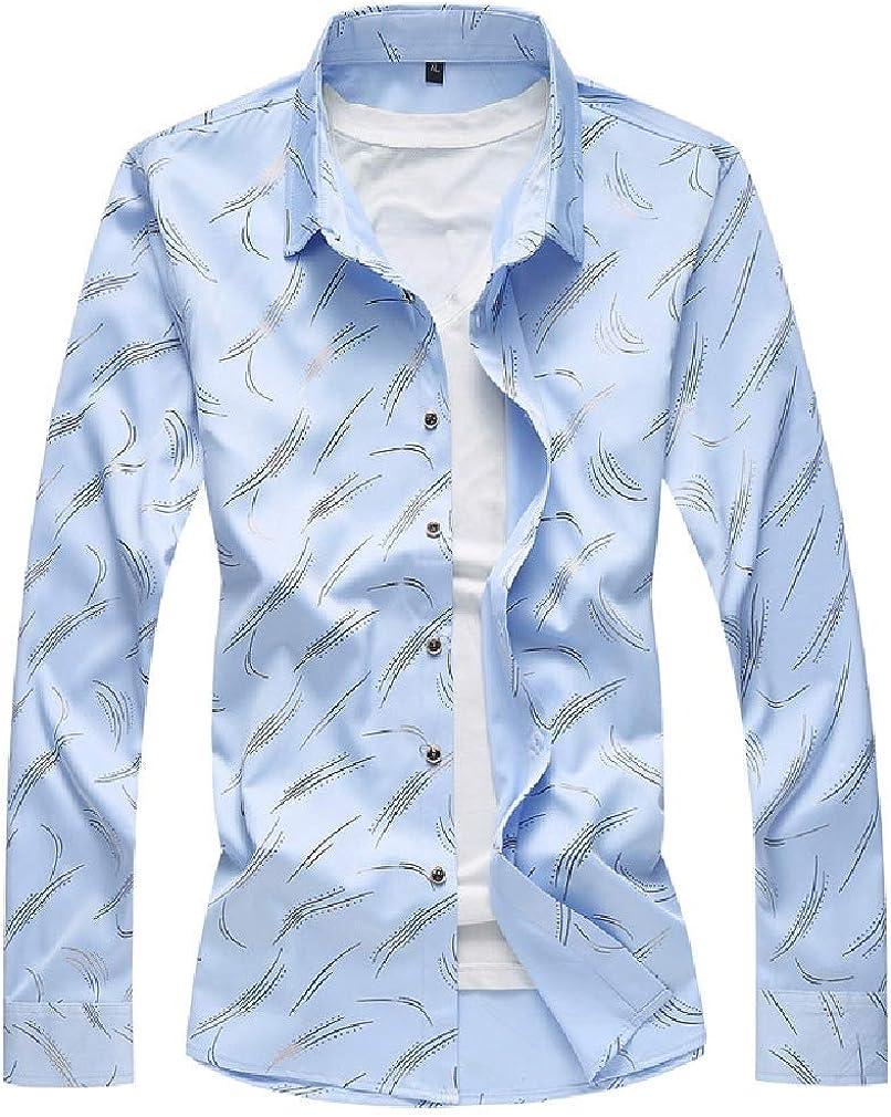 VITryst-Men Stripe Printing Pattern Casual Leisure Premium Casual Shirt