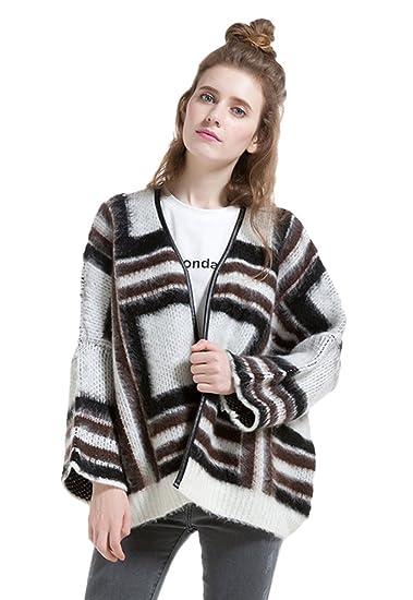 Insun Women S Loose Geometry Pattern Winter Mohair Cardigan Sweater