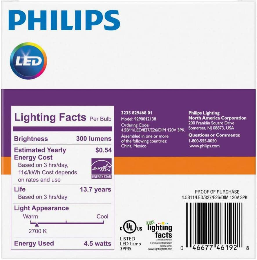 Amazon.com: Philips Bombilla LED regulable B11 de vela ...