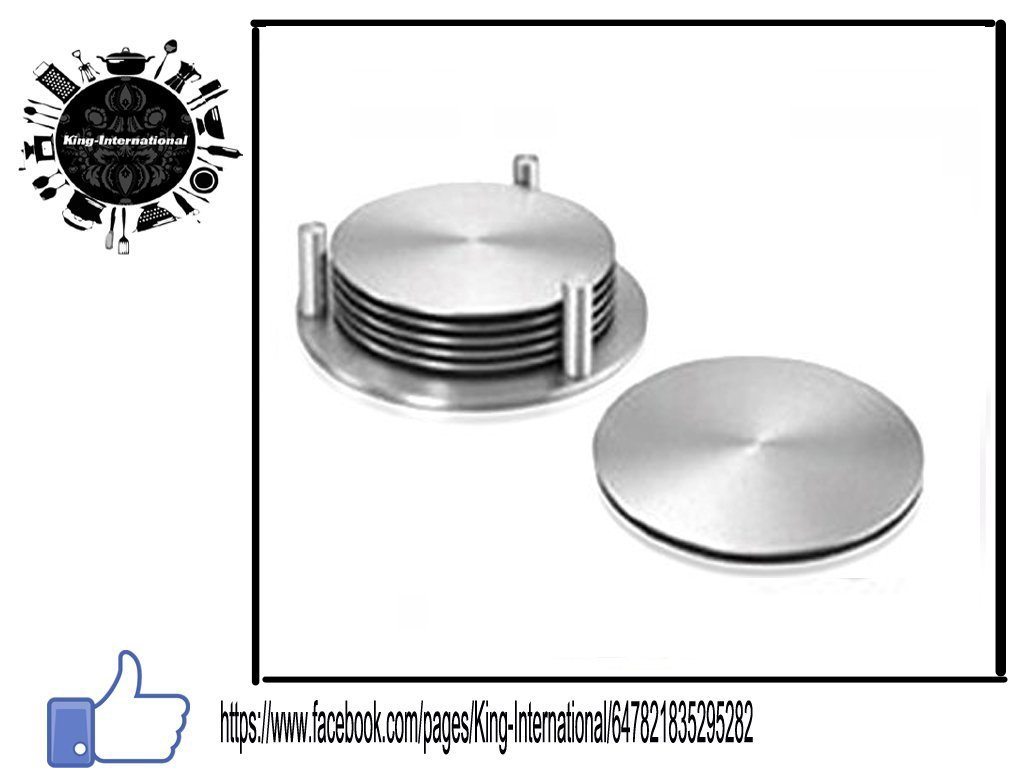 King International Stainless Steel Set of 6 round coasters set with stand | table coaster | heat mat | 9 cm each