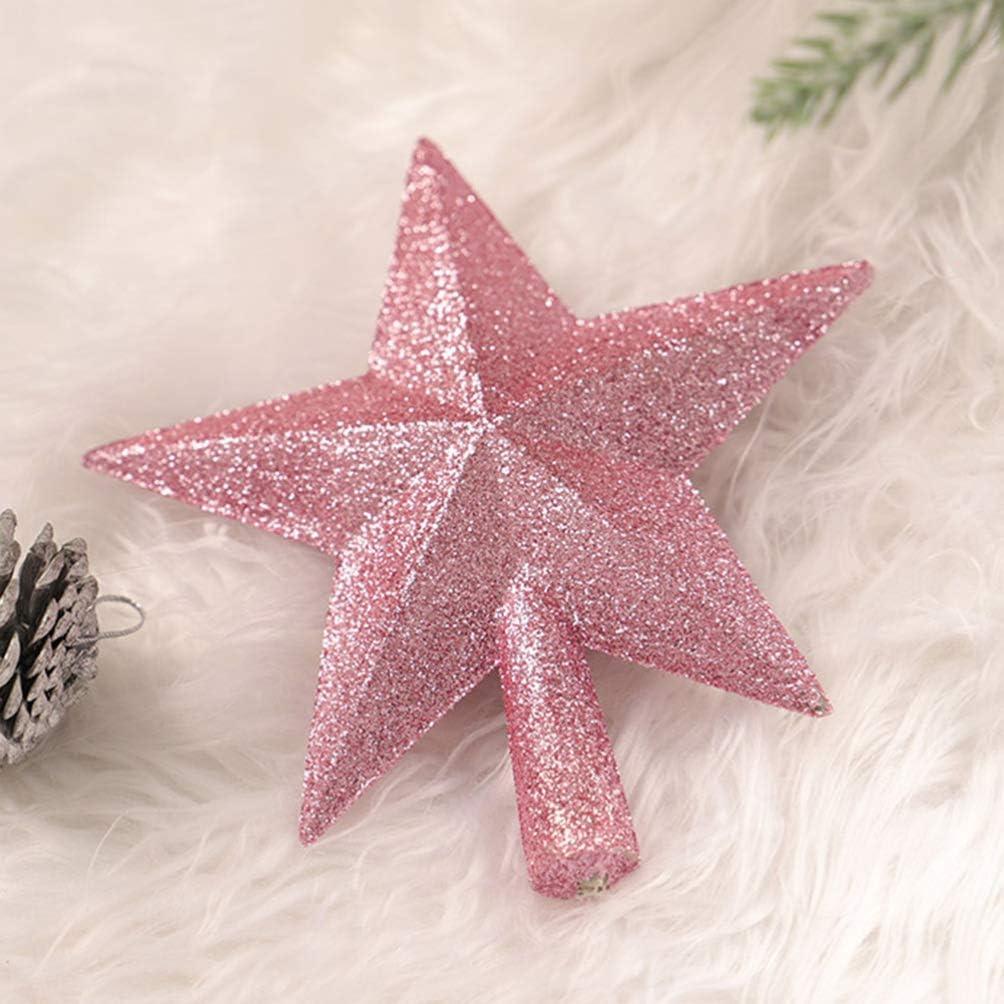 Amosfun 15cm Christmas Tree Topper Star Glittering Xmas Glittering Holiday Sparkling Decoration Ornaments Home Decor Christmas Tree Ornament