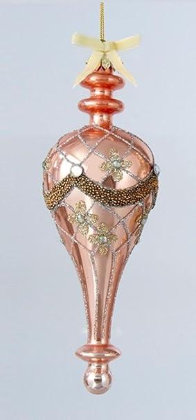 Shiny Blush Pink Glittered Glass Decorative Finial Christmas Ornament