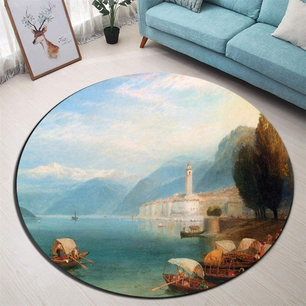 Riverside Mountains Town And Boats Round Children S Room Floor Area Rugs Living Room Carpet Bathroom Non Slip Cushion Door Mat Amazon Co Uk Kitchen Home