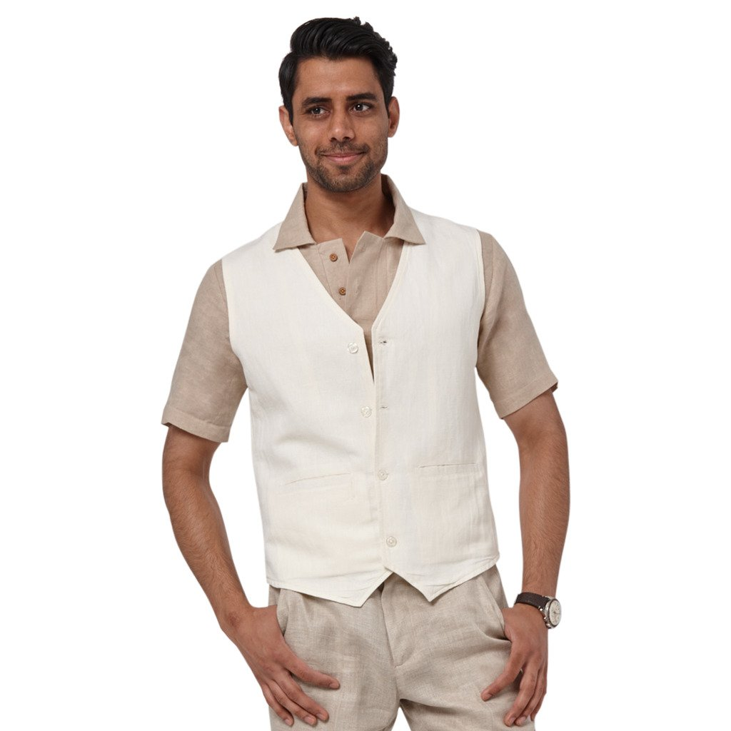 1d573416f8 Liash Designer Linen Vest for Men - Men's Linen Suit Vest for Wedding -  Beach Linen Vest for Men - White at Amazon Men's Clothing store: