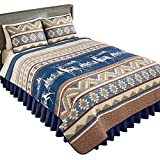 Collections Etc Etched Deer Aztec Western Cabin Quilt, Navy Multi, Twin