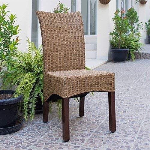 International Caravan SG-3307-1CH-IC Furniture Piece Campbell Rattan Wicker Stained Dining Chair