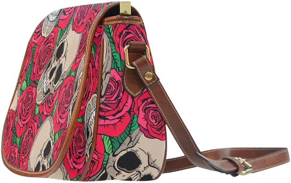 Skull With Rose Crossbody Travel Bag Flap With Magnetic Snap Printed Shoulder Crossbody Bag Girl Shoulder Bag