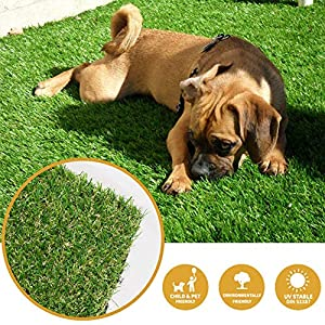 Artificial Grass Turf Patch,Synthetic Lawn Mat with Drainage Holes & Rubber Backing,Fake Grass Turf for Indoor Outdoor…