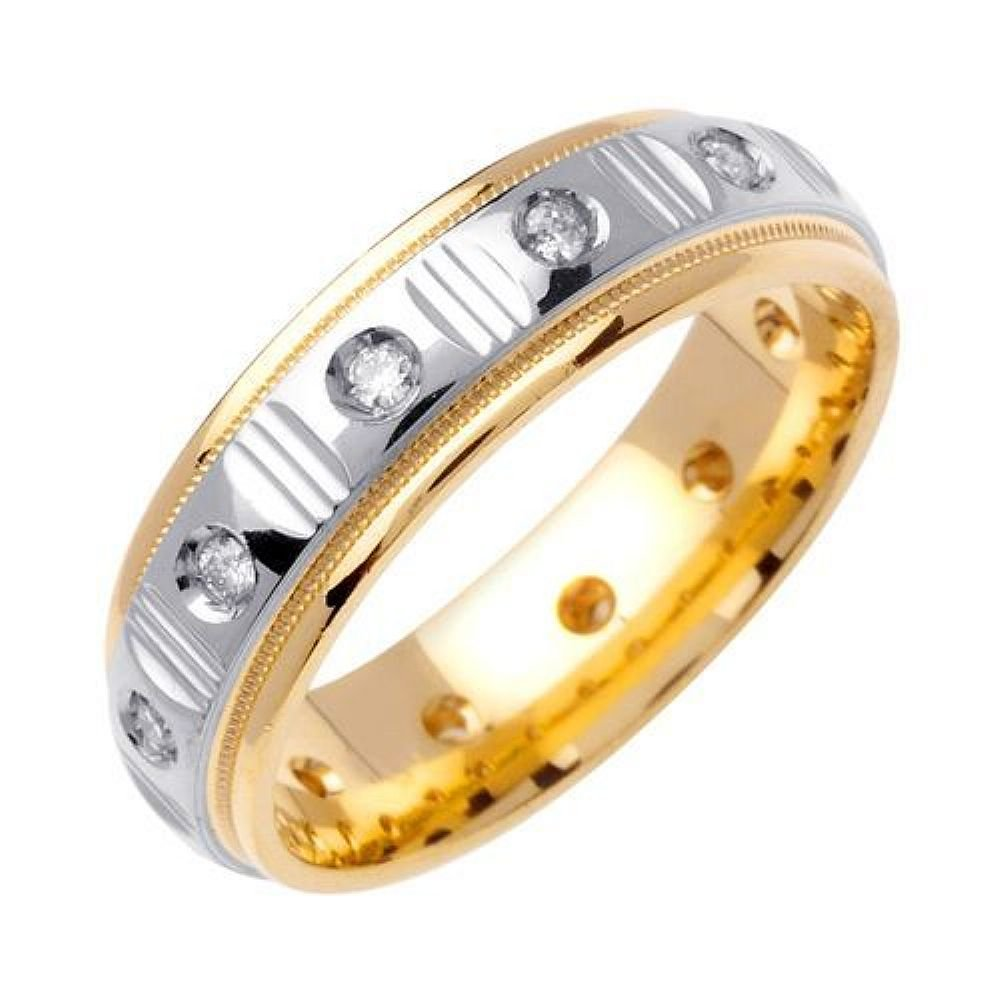 14k Gold Round Brilliant Bezel Set 6mm Comfort Fit Two Tone Diamond Band 0.36ctw 1252 - Size 13