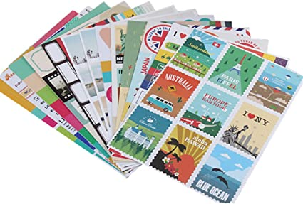 12 hojas de pegatinas de papel para sellos de bricolaje, estilo retro, clásico, de viaje: Amazon.es: Oficina y papelería