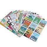 12 Sheets Paper Stamp Sticker DIY Vintage Retro