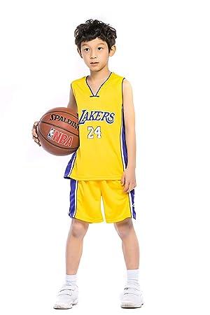 KKSY Camiseta de Baloncesto Trajes para niños Uniformes de Entrenamiento de Baloncesto para Hombres y Mujeres Lakers 24 Jerseys Adecuado para Deportes ...
