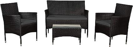Amazon De Artlife Polyrattan Gartenmobel Set Fort Myers Schwarz Sitzgruppe Mit Tisch Sofa 2 Stuhlen Balkonmobel Fur 4 Personen Mit Grauen Auflagen