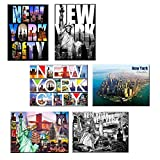 fridge magnet new york city - Pack of 6 New York NYC Souvenir Large Photo Picture Fridge Magnets 2.5 x 3.5 inch - 6 set