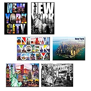 Pack of 6 New York NYC Souvenir Large Photo Picture Fridge Magnets 2.5 x 3.5 inch - 6 set