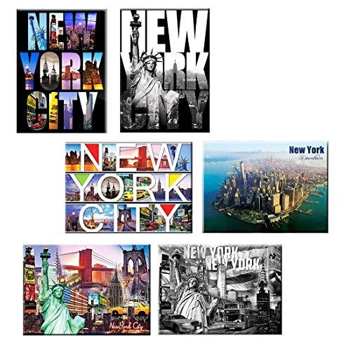 Pack of 6 New York NYC Souvenir Large Photo Picture Fridge Magnets 2.5 x 3.5 inch - 6 set (Refrigerator York New Magnet)
