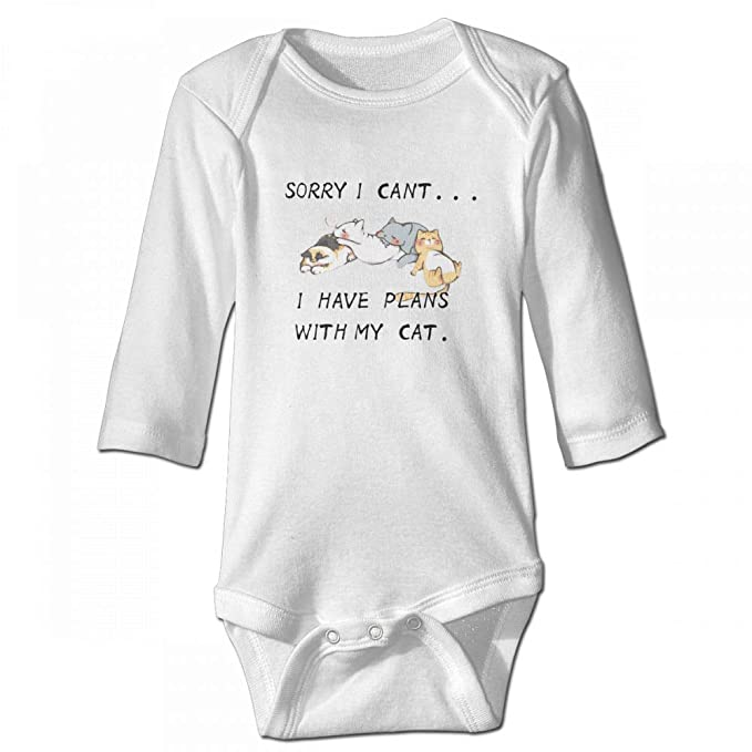 8eb6e03afc9e Amazon.com  Newborn Kid Baby Boy Girl Cool Sorry I Cant.I Have Plans My Cat  Cotton Onesies Bodysuit T Shirt White  Clothing