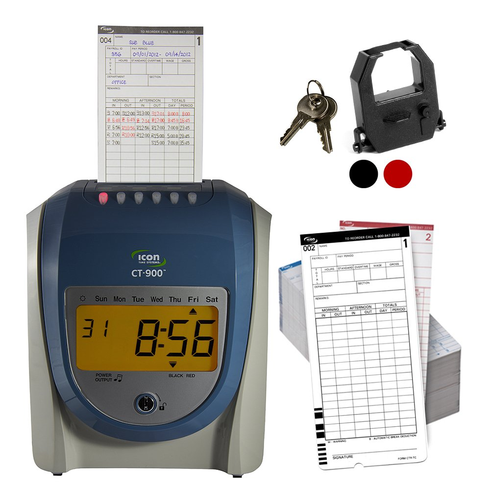 Icon time systems CT-900 Calculating Time Recorder with Free Lifetime Support and Operational Battery Backup by Icon Time Systems