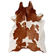 Natural Cowhide Rug - X Large Pure Brown and White Cowhide Cow Skin Leather Rug