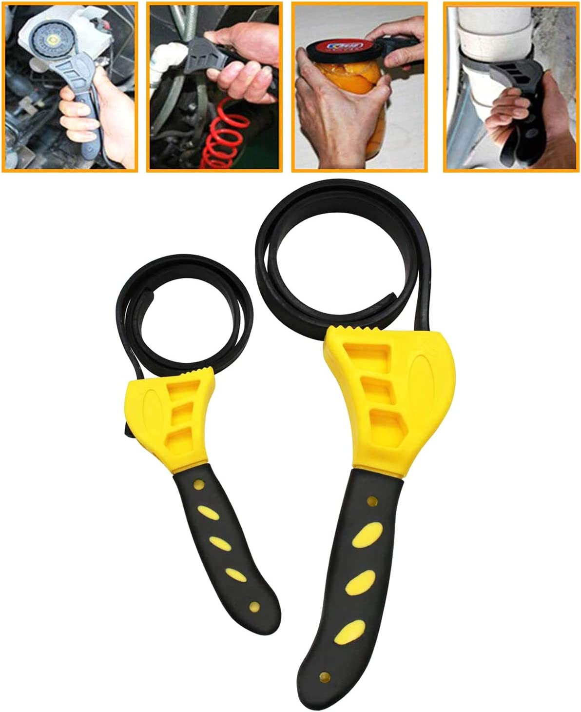 Filter Wrench HORUSDY 2-Piece Adjustable Strap Wrench 2-Piece Plumbing Wrench Grip Wrench Plumbers Srench Oil Wrench