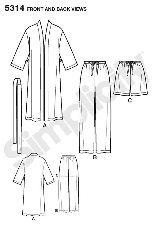 Simplicity 5314 AA - Patrones de costura para pijamas y batas (tallas grandes): Amazon.es: Hogar