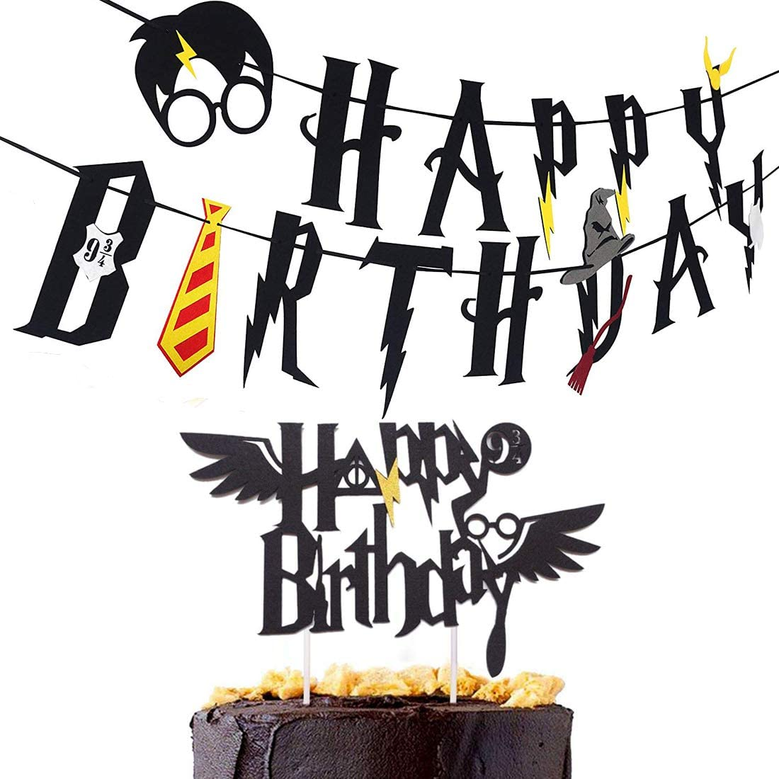 Party Banner, Harry potter Happy Birthday Banner with Cake Topper Wizard Themed Party Decoration Supplies Set Black
