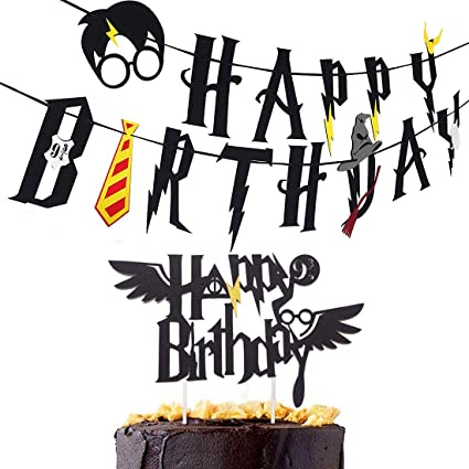 Image Unavailable Not Available For Color Party Banner Harry Potter Happy Birthday With Cake Topper