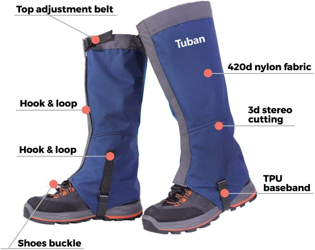 Hunting Green Space Blue Waterproof Nylon Knee High Leg Man Outdoor Research with Bonus Steel Ring Skiing Fishing Women Youth Gaiters for Hiking Climbing